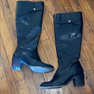 Frye Malorie black leather button tall boots 8.5 B